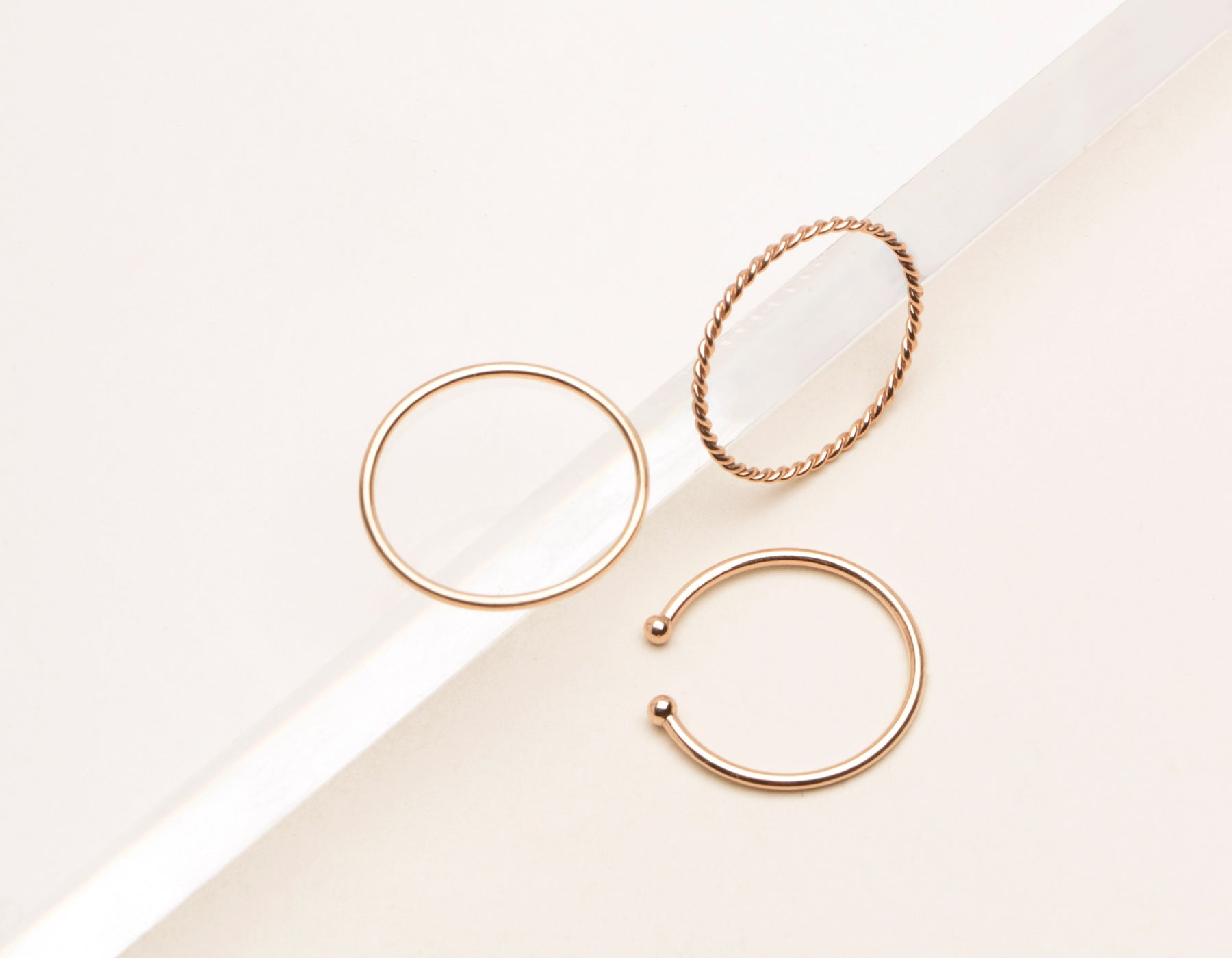 vrai & Oro simple classic stacking rings twist ring skinny stacker dot cuff ring, 14K Rose Gold