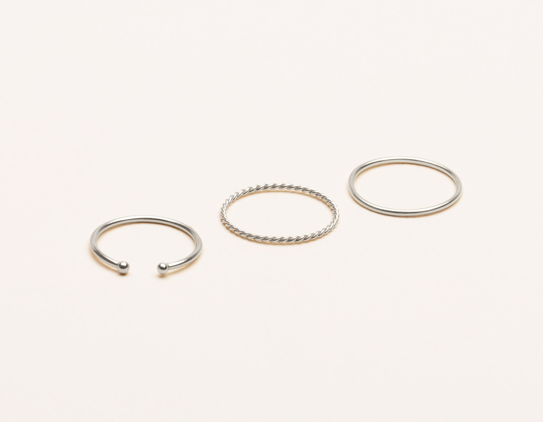 vrai and Oro delicate 14k solid gold classic simple stack skinny stacker twist ring dot cuff, 14K White Gold