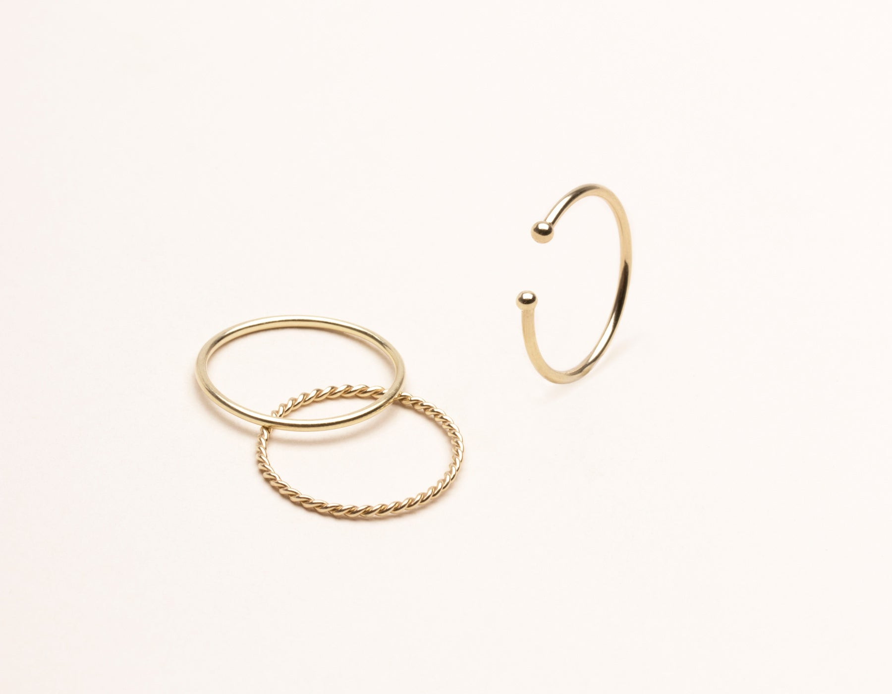vrai & Oro 14k solid gold modern minimalist simple stack rings, 14K Yellow Gold