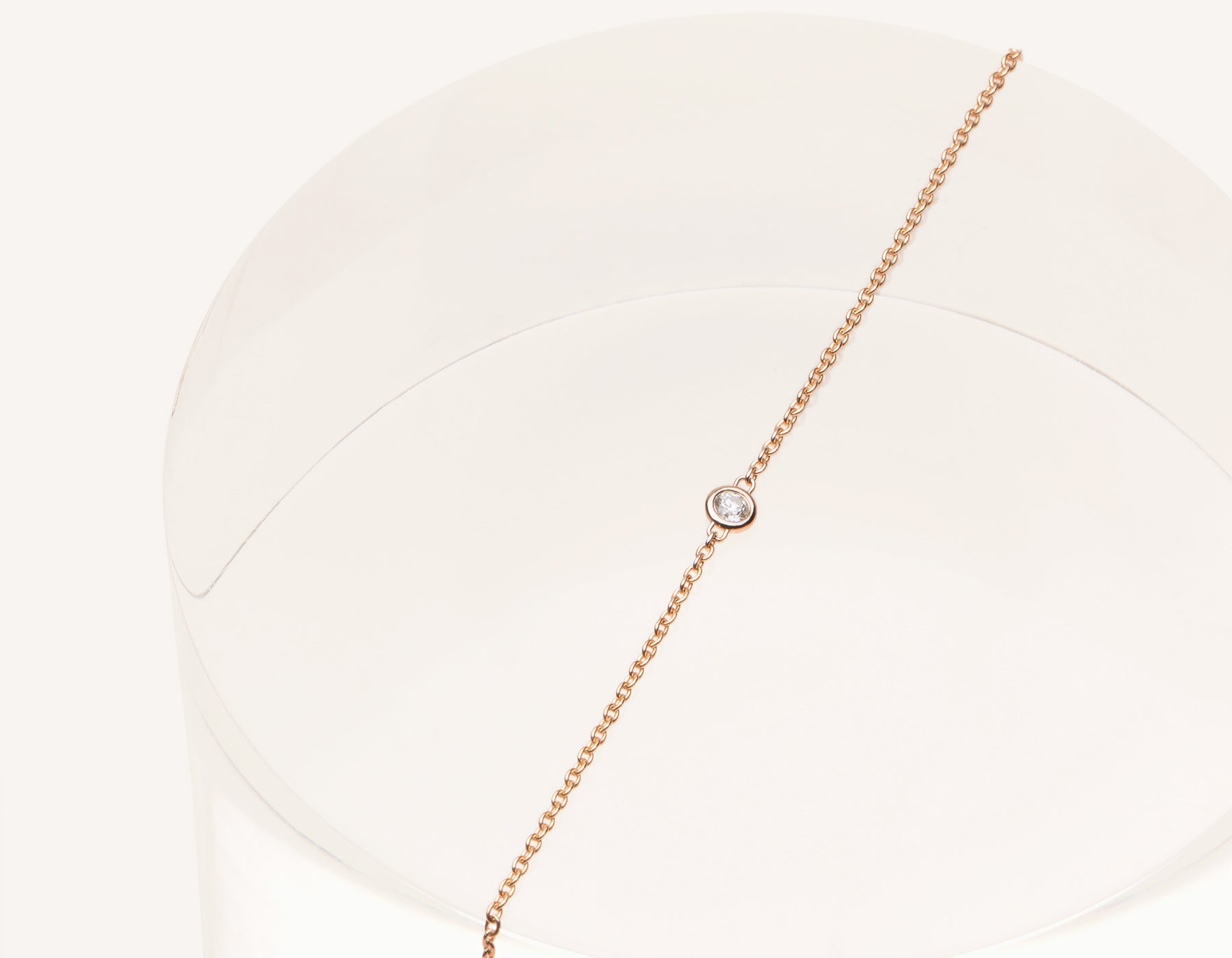 Simple classic 14k solid gold .04 carat round brilliant cut Solitaire Diamond Bracelet on delicate chain Vrai & Oro, 14K Rose Gold