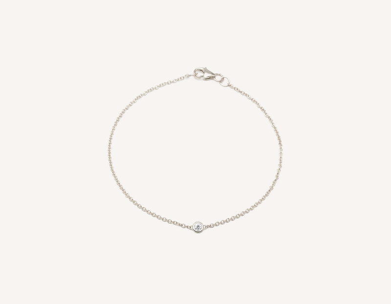Simple modern 14k solid gold round brilliant diamond Solitaire Bracelet bezel set on thin chain with lobster clasp Vrai and Oro, 14K White Gold