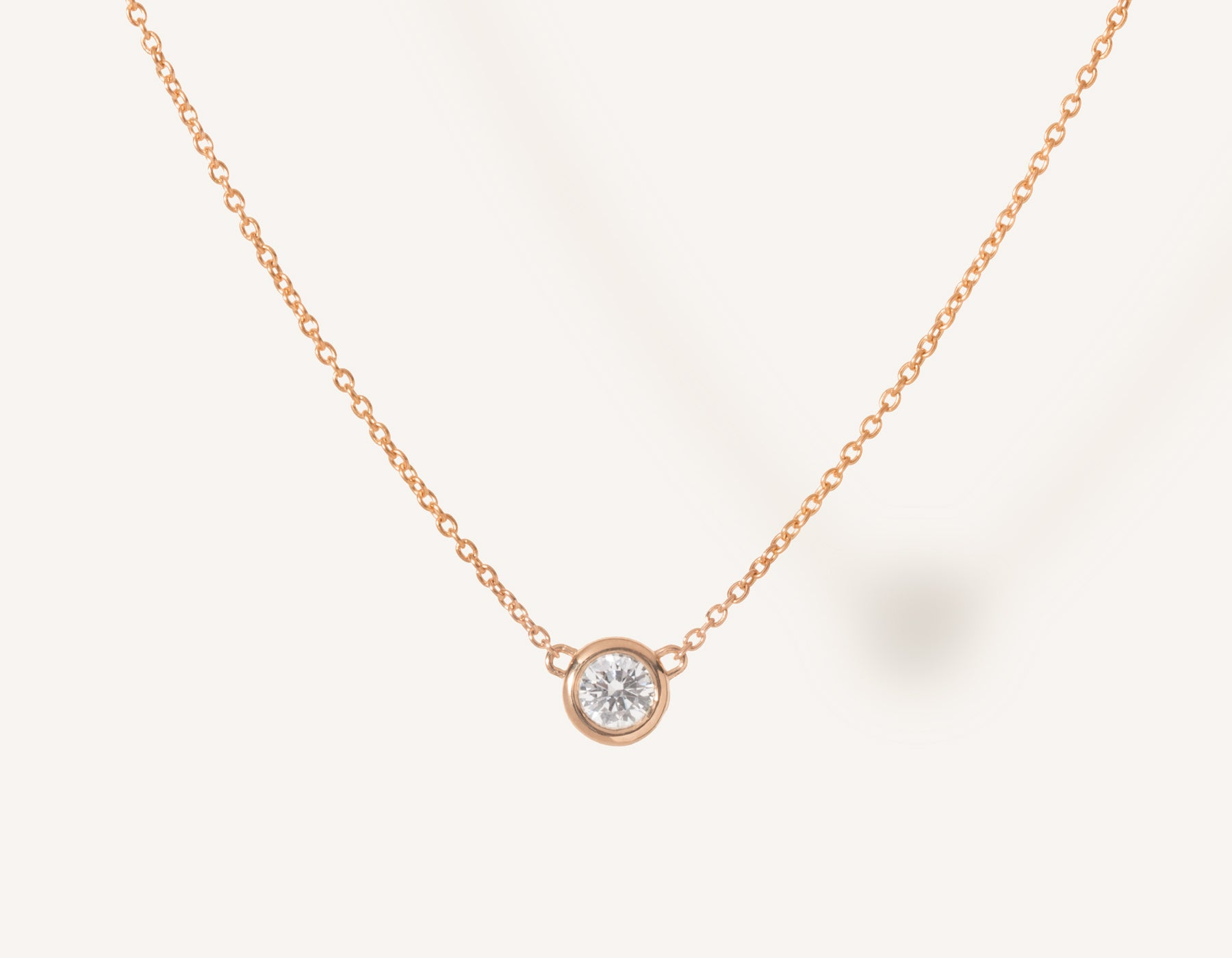 Simple modern 14k solid gold round brilliant diamond Solitaire Necklace bezel set on thin chain with spring ring clasp Vrai and Oro, 14K Rose Gold