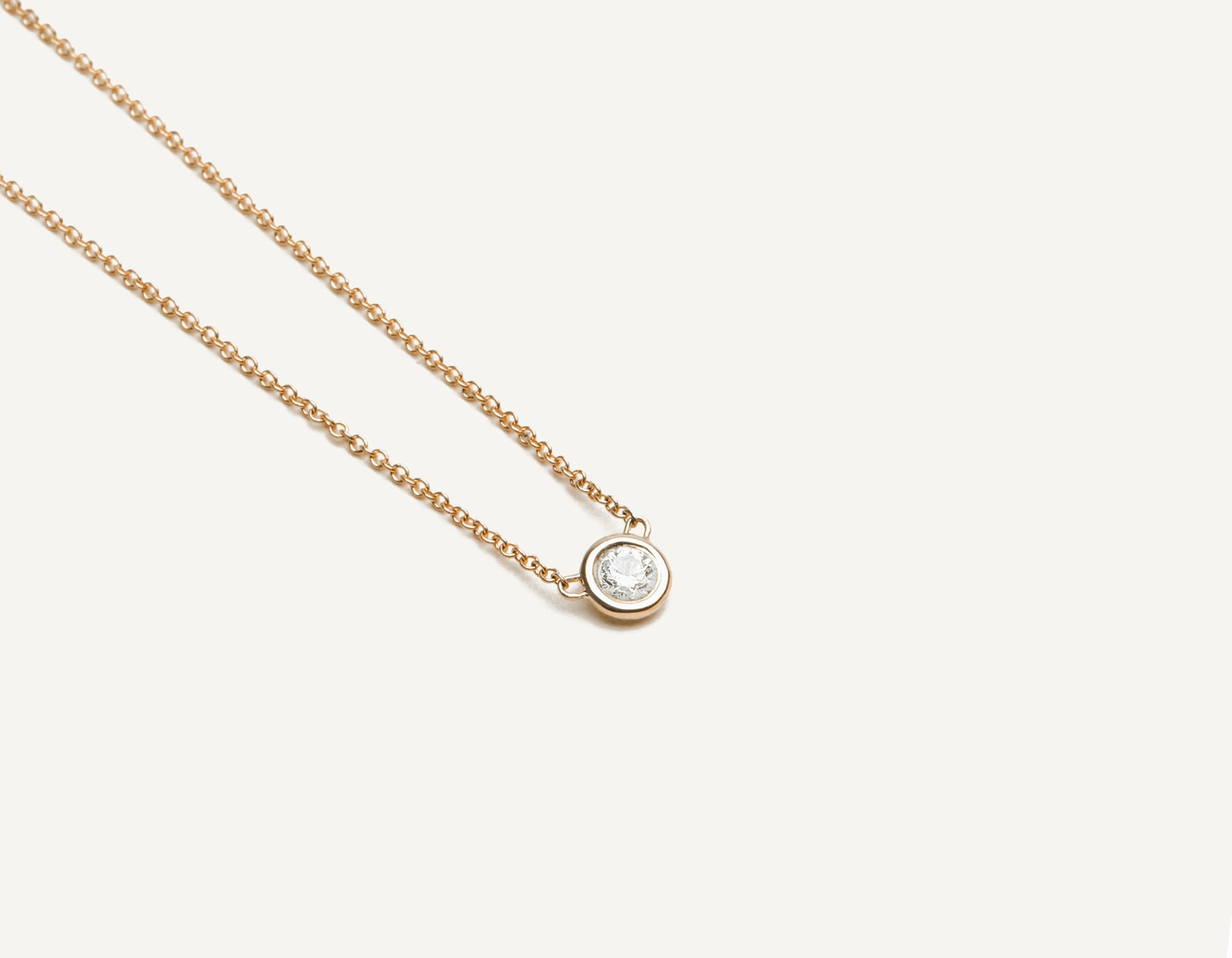 Classic minimalist 14k solid gold .1 carat round brilliant cut Solitaire Diamond Necklace on delicate chain Vrai & Oro, 14K Rose Gold