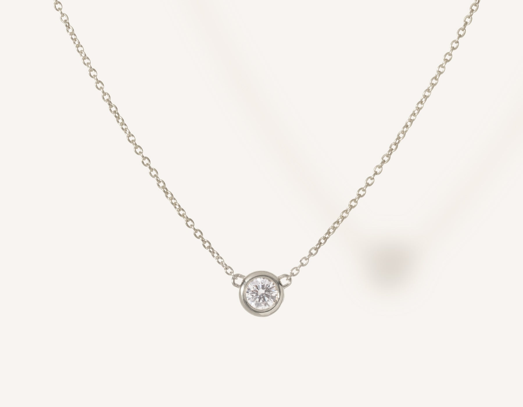 Simple modern 14k solid gold round brilliant diamond Solitaire Necklace bezel set on thin chain with spring ring clasp Vrai and Oro, 14K White Gold