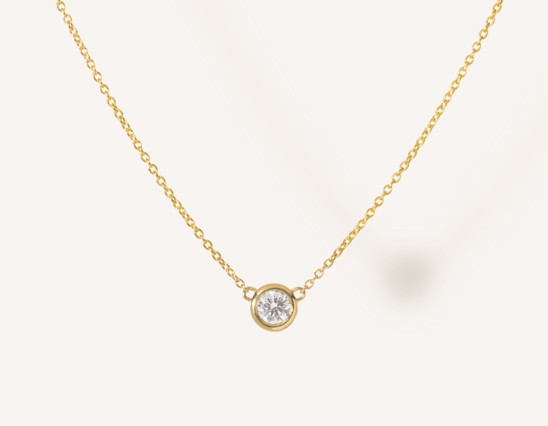 eab61804303 Simple modern 14k solid gold round brilliant diamond Solitaire Necklace  bezel set on thin chain with