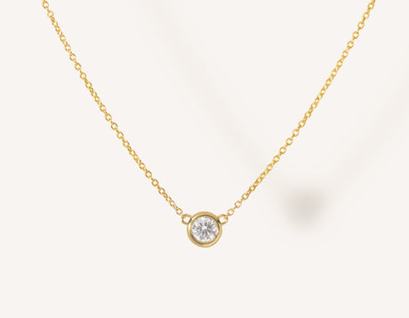 Simple modern 14k solid gold round brilliant diamond Solitaire Necklace bezel set on thin chain with spring ring clasp Vrai and Oro, 14K Yellow Gold