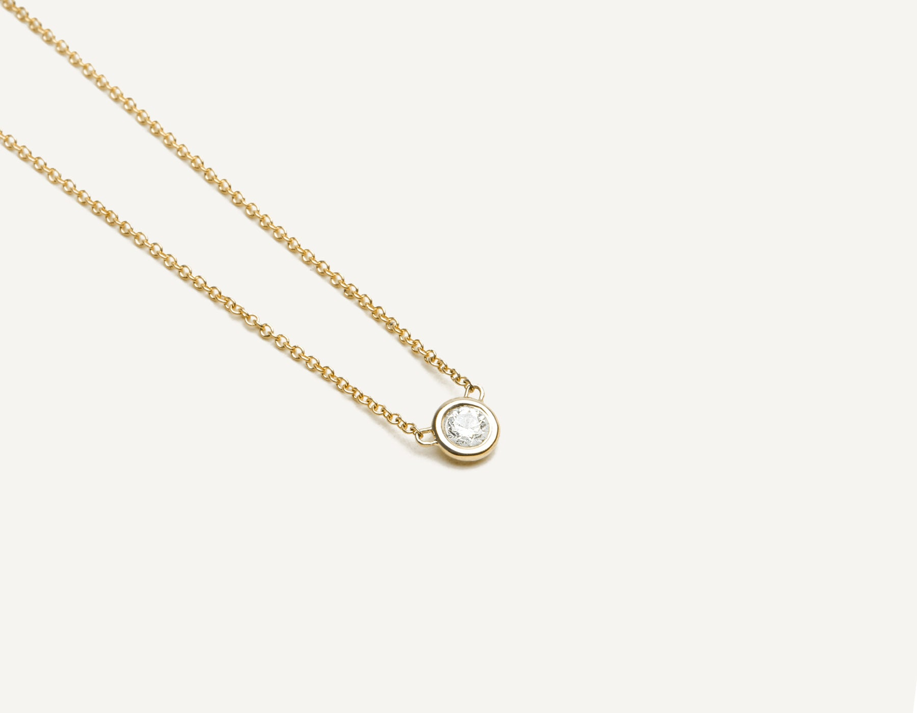 Classic minimalist 14k solid gold .1 carat round brilliant cut Solitaire Diamond Necklace on delicate chain Vrai & Oro, 14K Yellow Gold