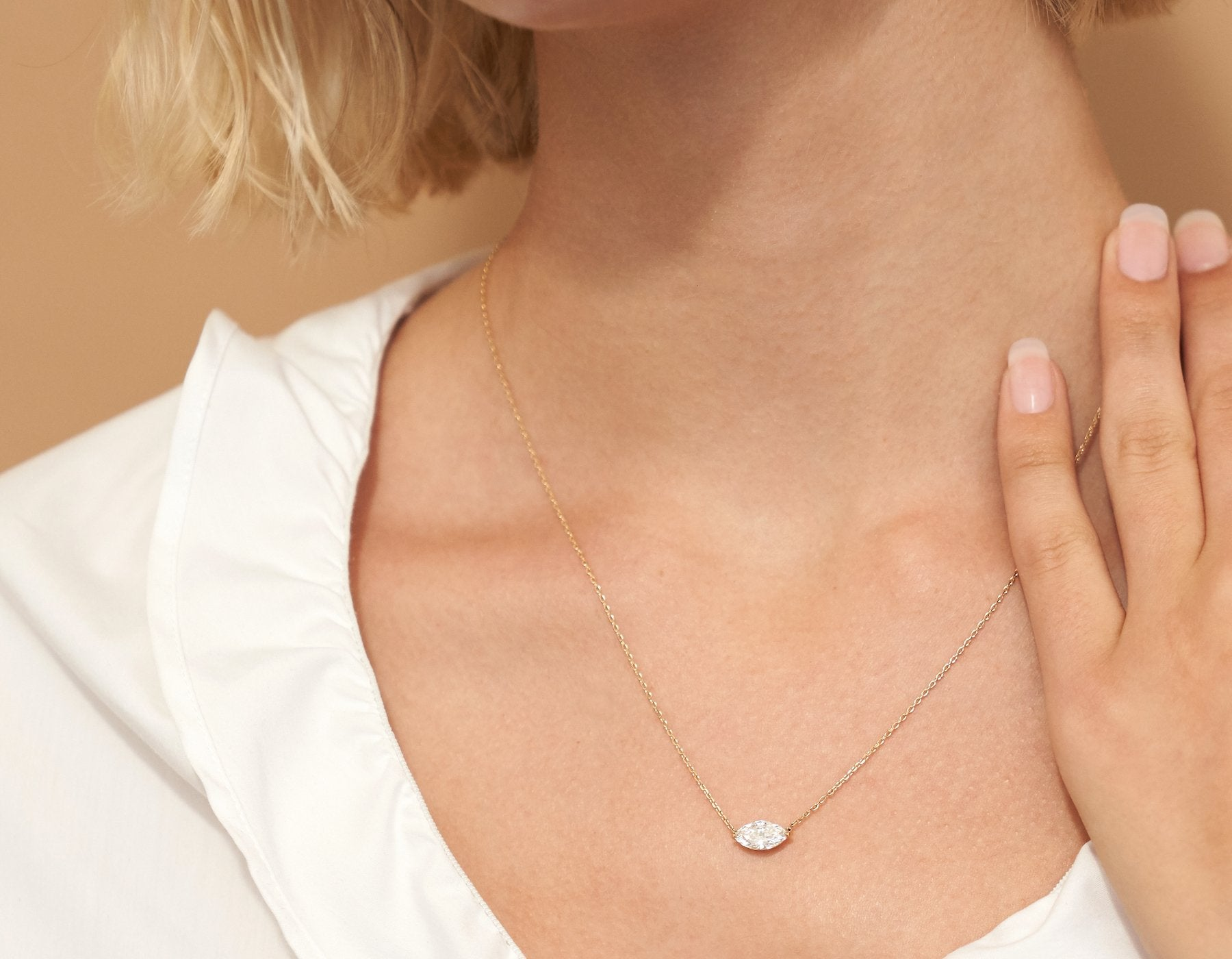 Model wearing Vrai 14K solid gold solitaire marquise diamond necklace 1ct minimalist delicate, 14K Yellow Gold