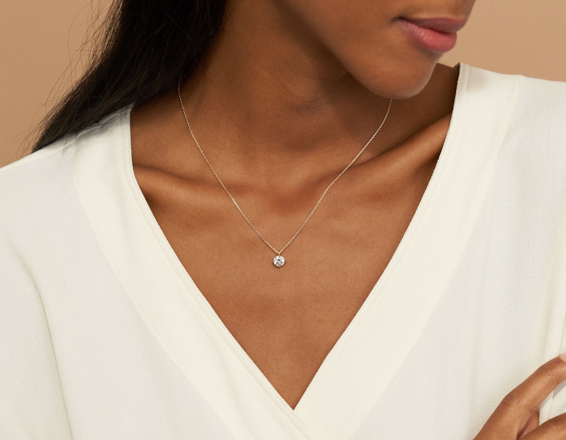 Model wearing Vrai 14K solid gold solitaire round brilliant diamond pendant necklace 1ct minimalist delicate, 14K Rose Gold