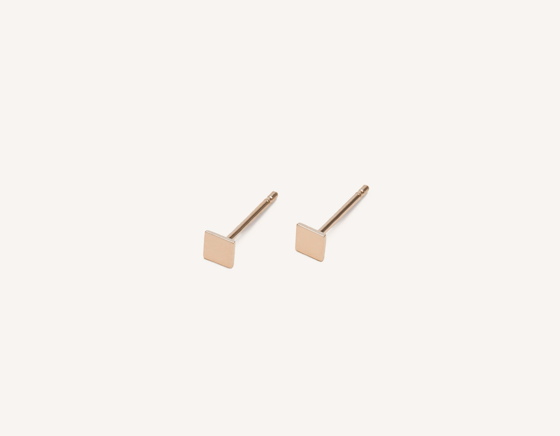 Simple classic Square Stud earrings 14k solid gold Vrai & Oro minimalist jewelry, 14K Rose Gold