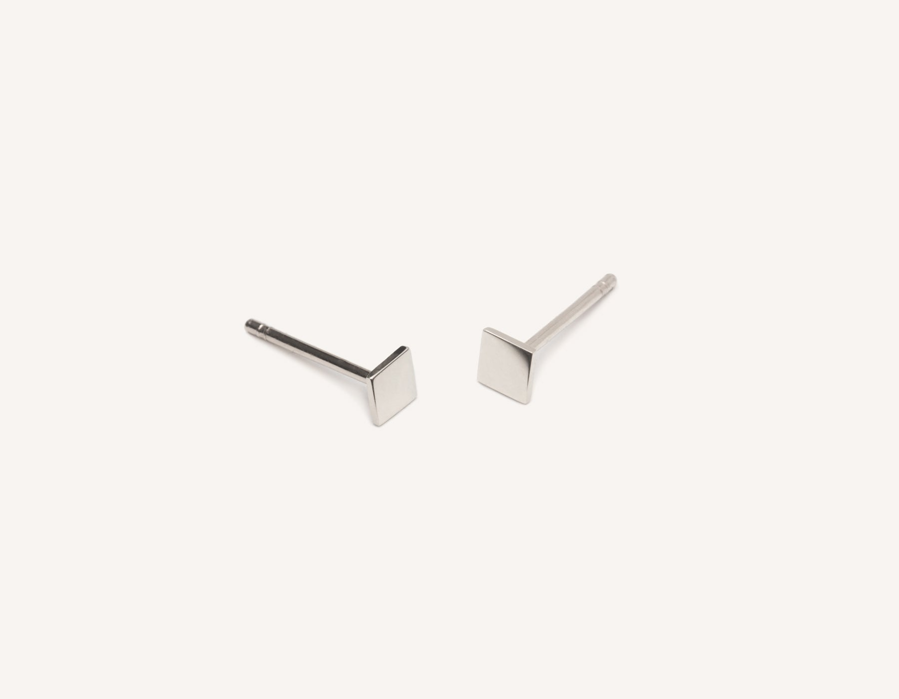 Modern minimalist Square Studs 14k solid gold post earrings Vrai and Oro, 14K White Gold