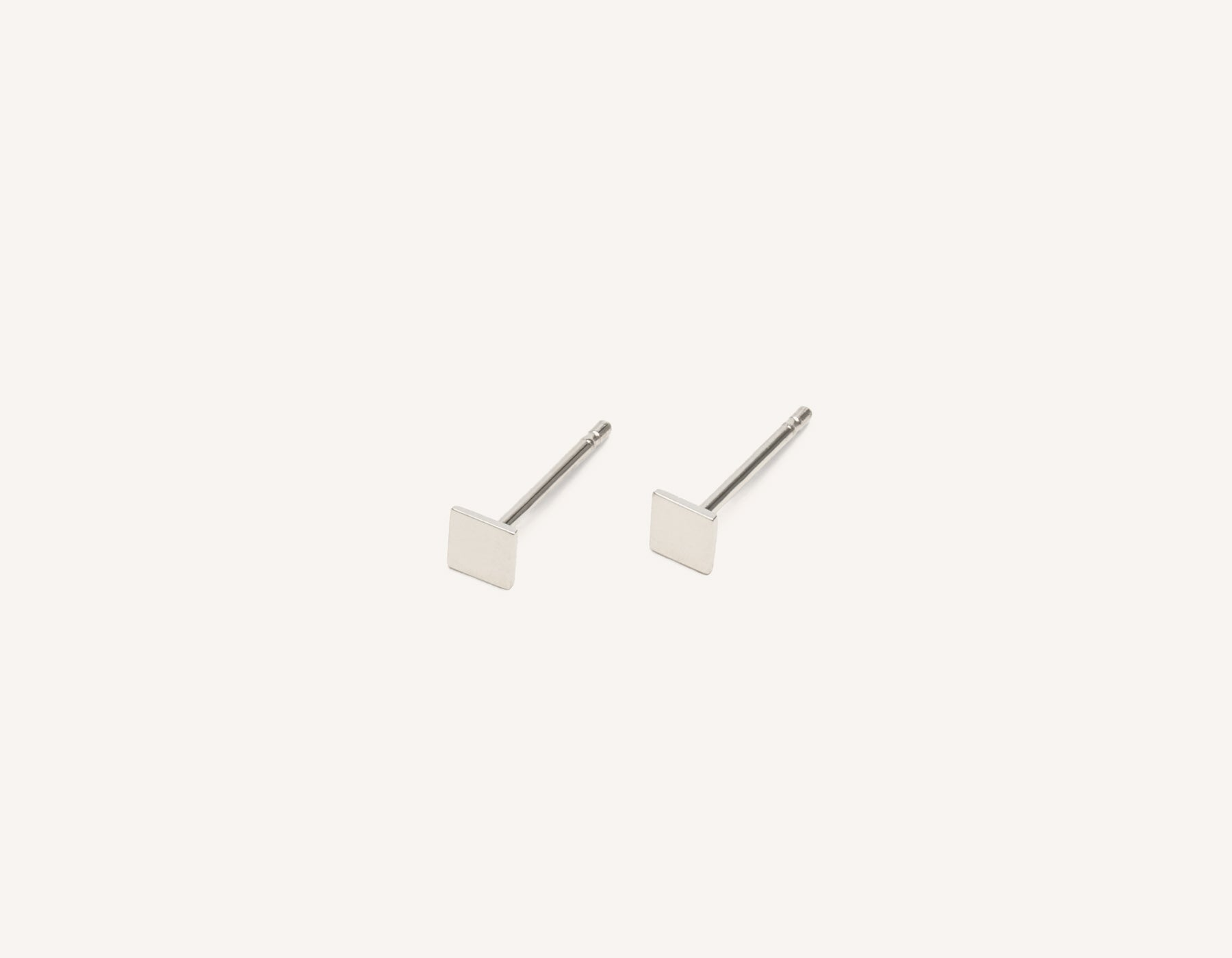 Simple classic Square Stud earrings 14k solid gold Vrai & Oro minimalist jewelry, 14K White Gold
