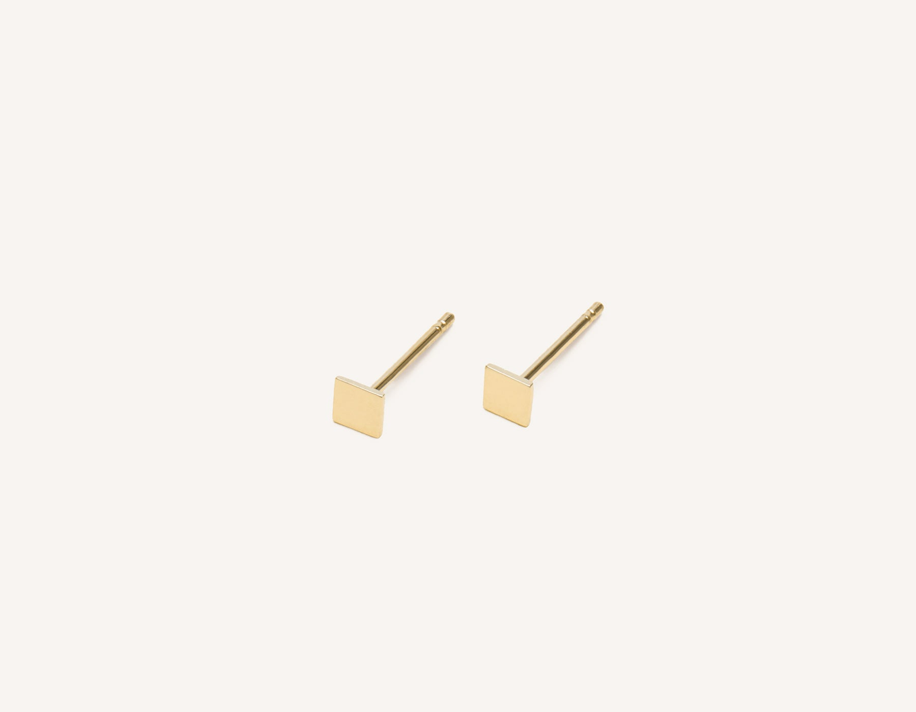 Simple classic Square Stud earrings 14k solid gold Vrai & Oro minimalist jewelry, 14K Yellow Gold