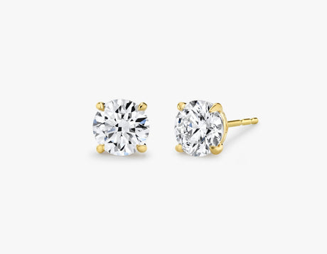 Vrai 14K solid gold solitaire round brilliant diamond studs earrings 1ct minimalist delicate, 14K Yellow Gold