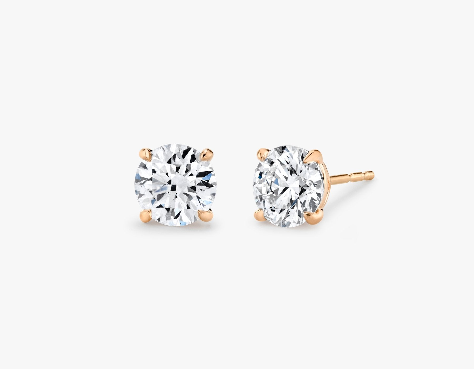 Vrai 14K solid gold solitaire round brilliant diamond studs earrings 1ct minimalist delicate, 14K Rose Gold