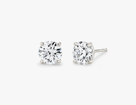 Vrai 14K solid gold solitaire round brilliant diamond studs earrings 1ct minimalist delicate, 14K White Gold