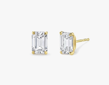 Vrai 14K solid gold solitaire emerald diamond studs earrings 1ct minimalist delicate, 14K Yellow Gold