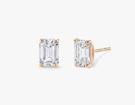 Vrai 14K solid gold solitaire emerald diamond studs earrings 1ct minimalist delicate, 14K Rose Gold