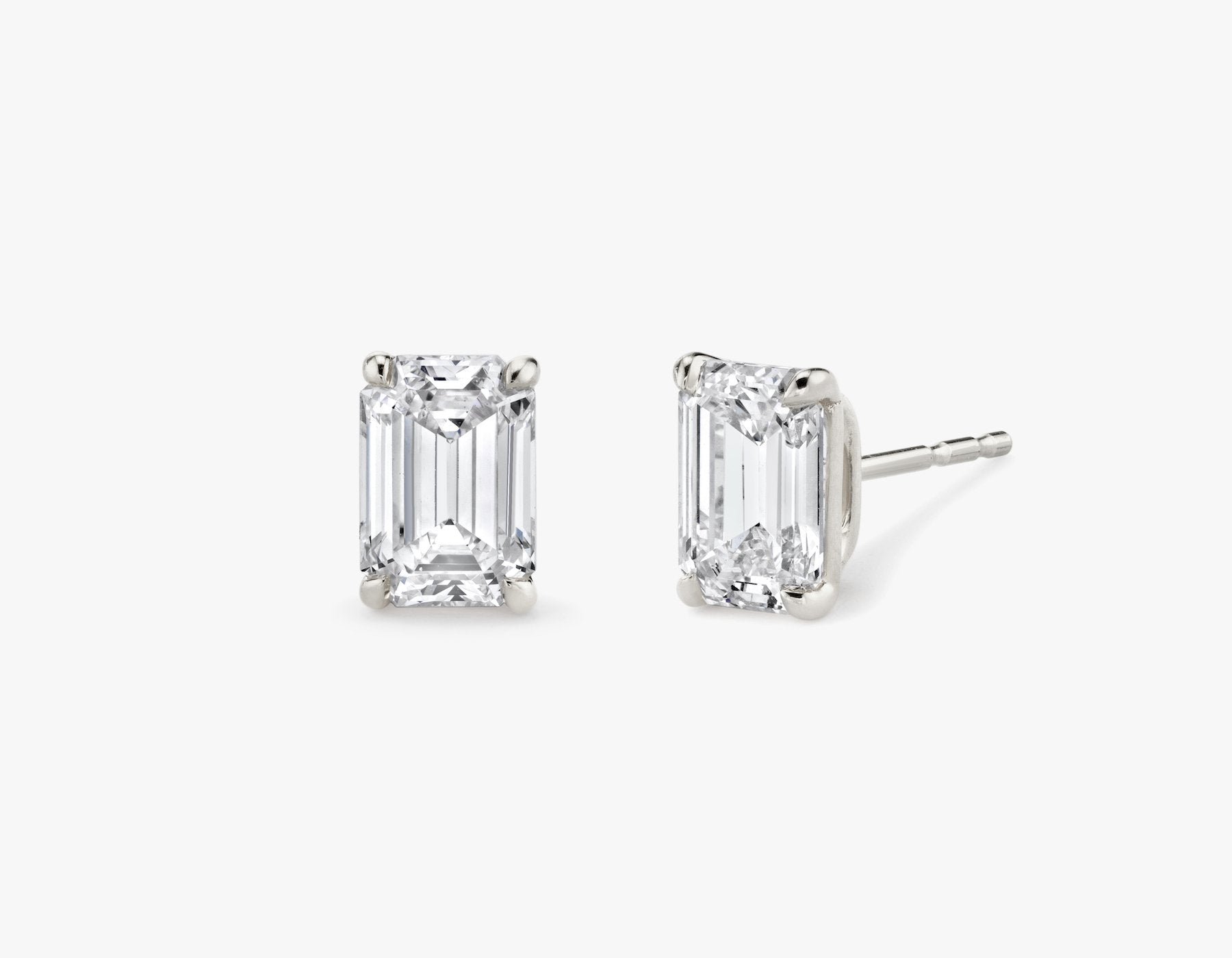 Vrai 14K solid gold solitaire emerald diamond studs earrings 1ct minimalist delicate, 14K White Gold