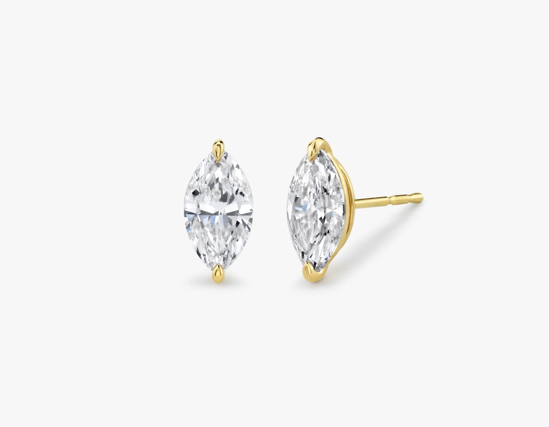 Vrai 14K solid gold solitaire marquise diamond studs earrings 1ct minimalist delicate, 14K Yellow Gold