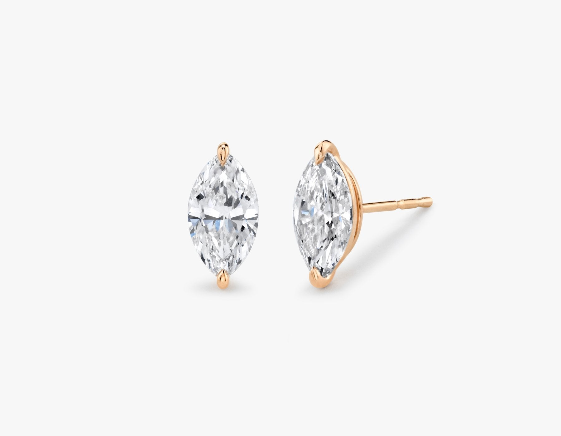 Vrai 14K solid gold solitaire marquise diamond studs earrings 1ct minimalist delicate, 14K Rose Gold