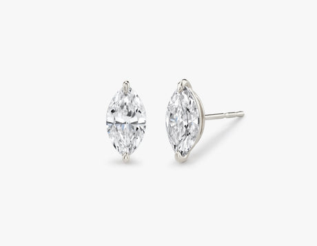 Vrai 14K solid gold solitaire marquise diamond studs earrings 1ct minimalist delicate, 14K White Gold