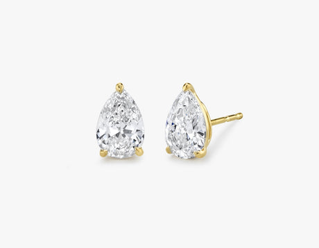 Vrai 14K solid gold solitaire pear diamond studs earrings 1ct minimalist delicate, 14K Yellow Gold