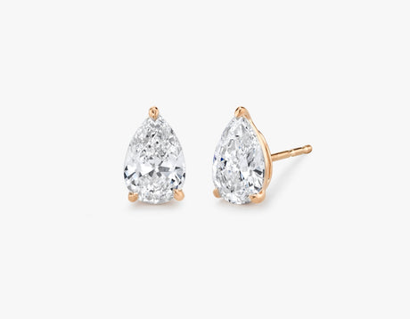 Vrai 14K solid gold solitaire pear diamond studs earrings 1ct minimalist delicate, 14K Rose Gold