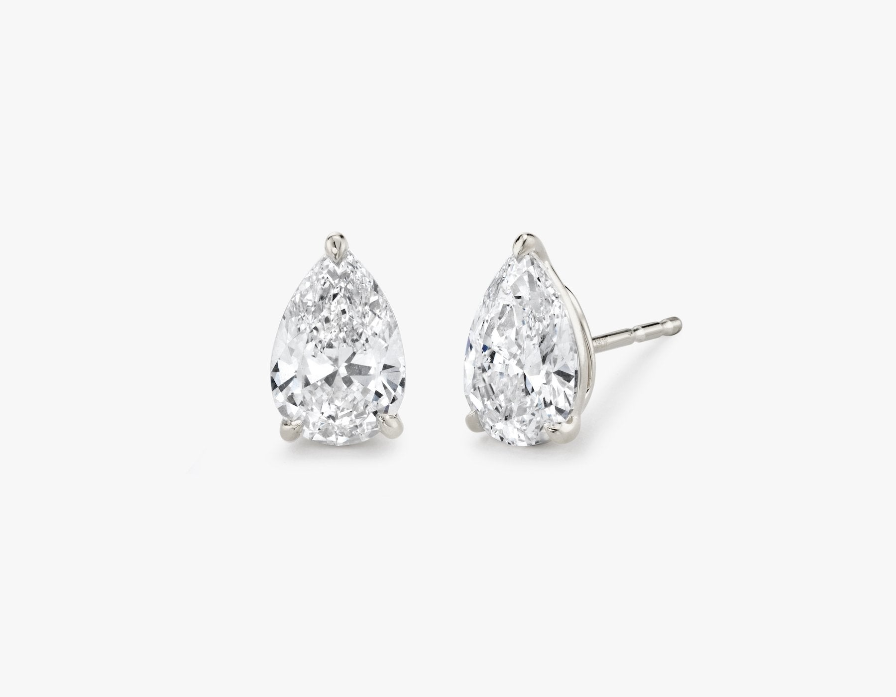 Vrai 14K solid gold solitaire pear diamond studs earrings 1ct minimalist delicate, 14K White Gold