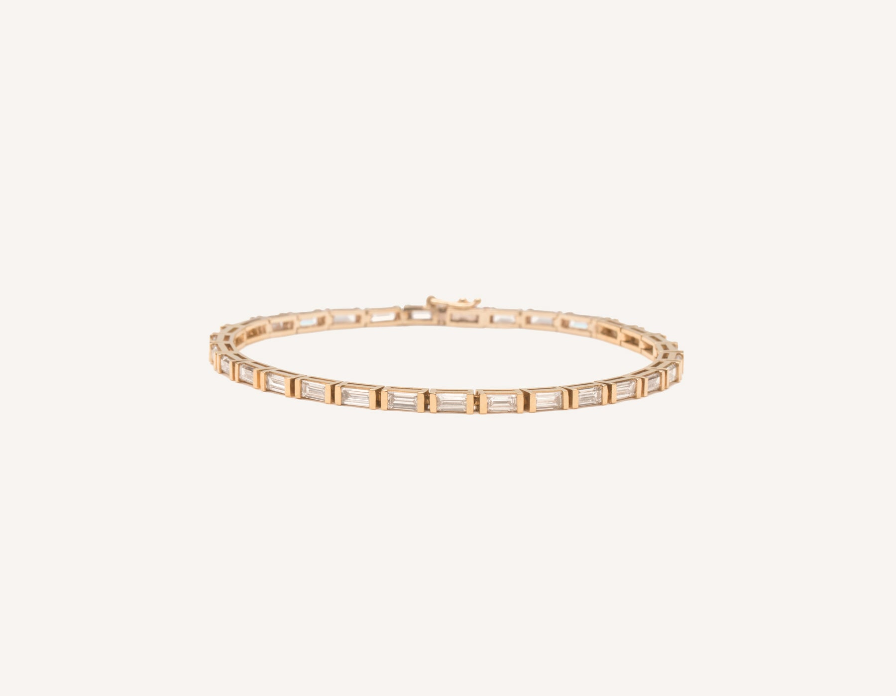 Classic elegant 18k solid gold Baguette Diamond Tennis Bracelet by Vrai and Oro, 18K Rose Gold