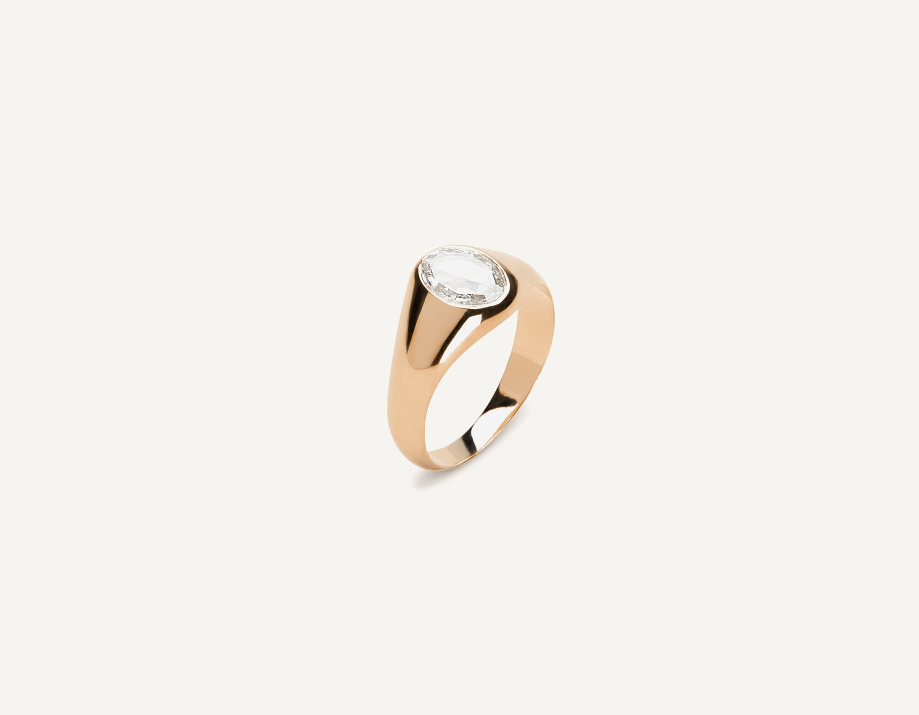 Modern classic 18k Solid Gold .65 carat Oval Rose Diamond Signet ring Vrai & Oro Minimalist Jewelry, 18K Rose Gold