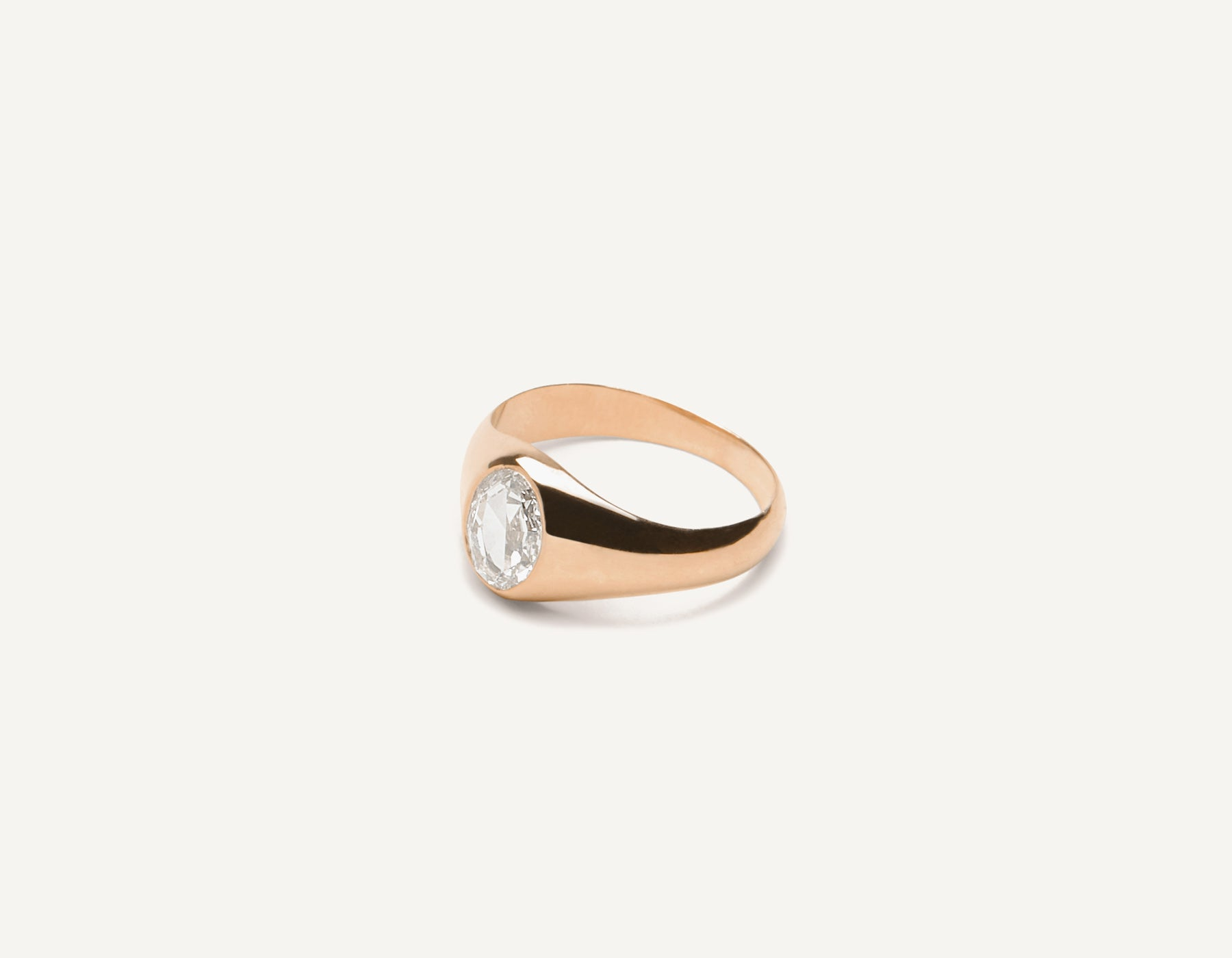 Vrai & Oro 18k solid gold Minimalist vintage Oval Rose Signet ring with .65 carat diamond, 18K Rose Gold
