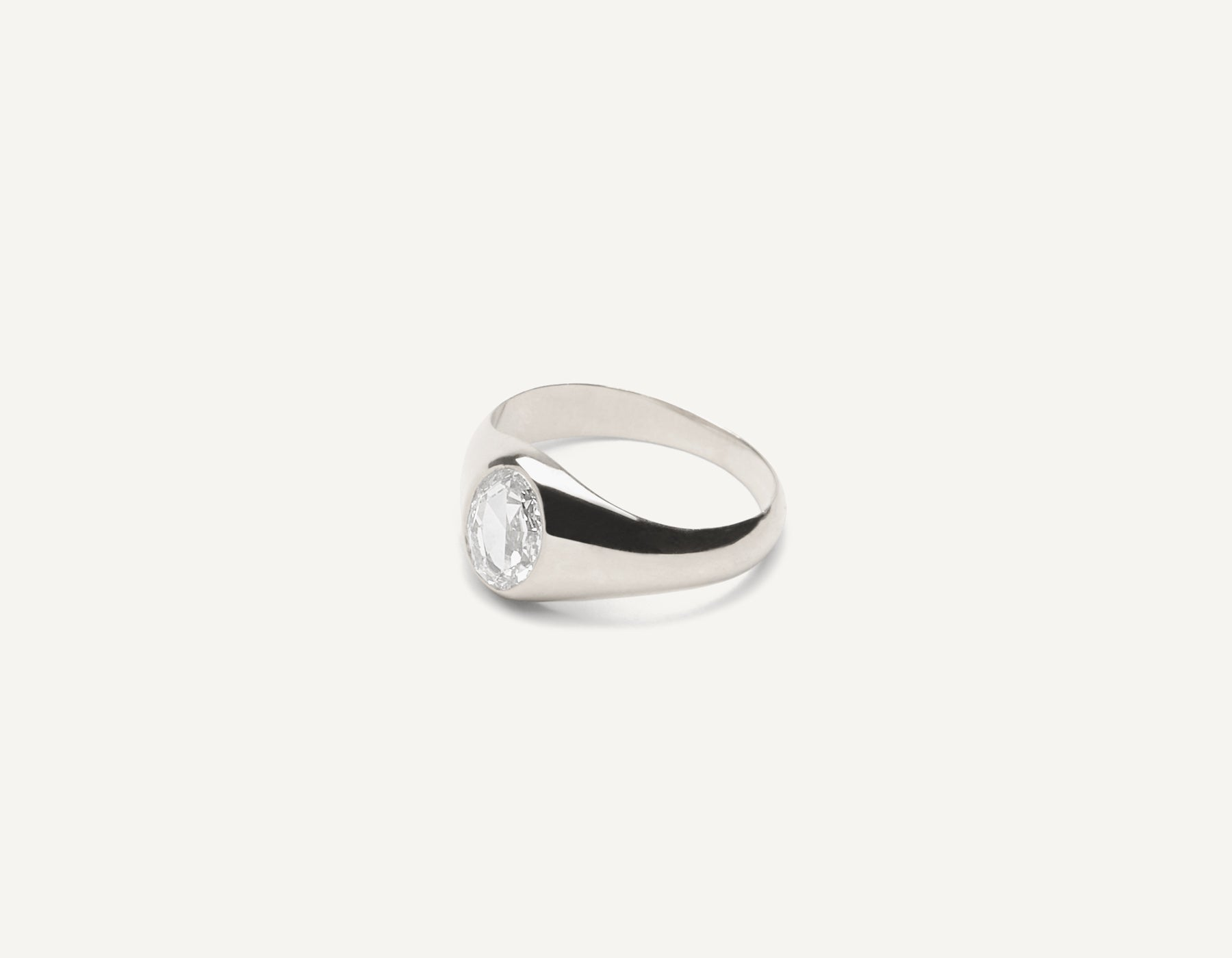 Vrai & Oro 18k solid gold Minimalist vintage Oval Rose Signet ring with .65 carat diamond, 18K White Gold