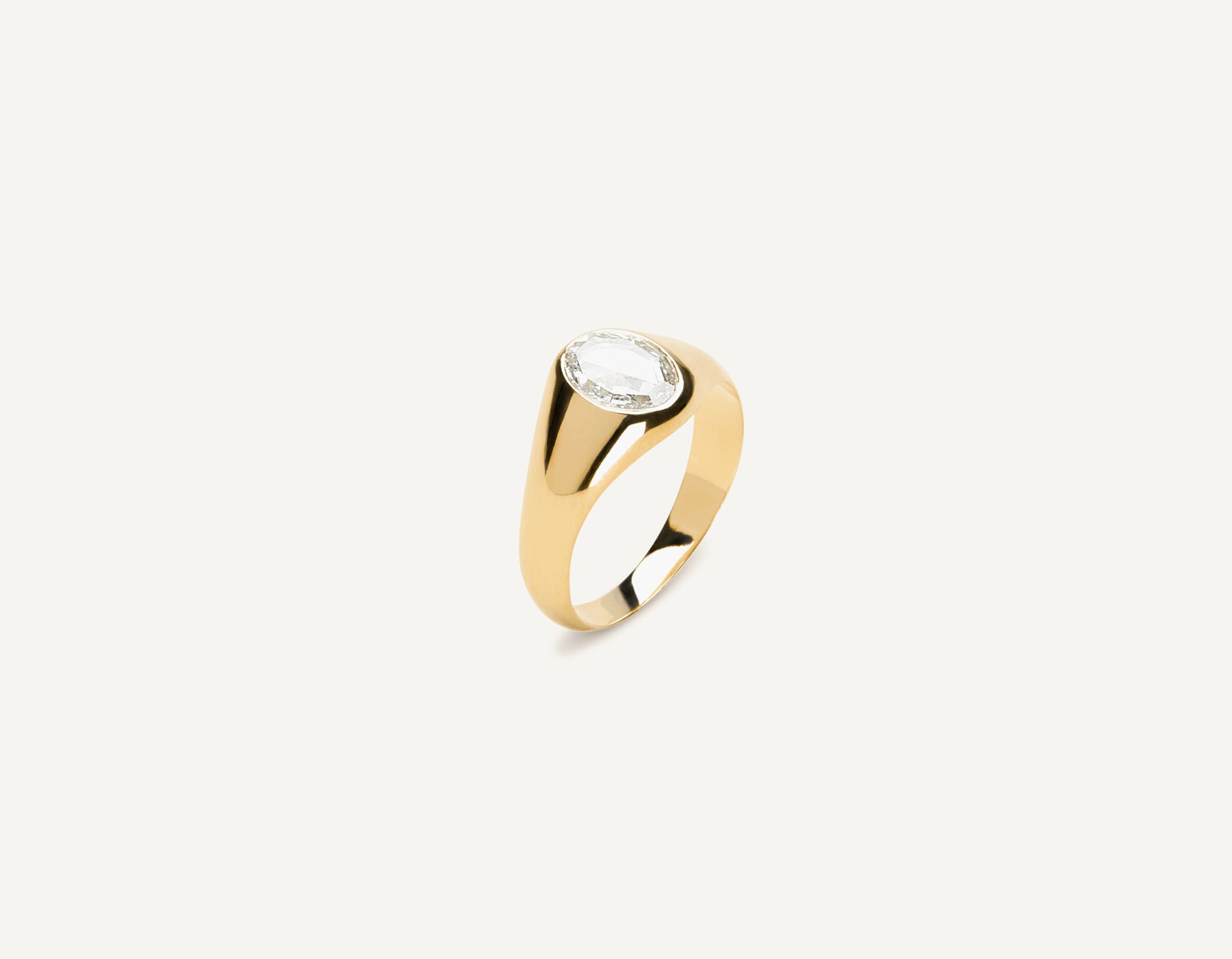Modern classic 18k Solid Gold .65 carat Oval Rose Diamond Signet ring Vrai & Oro Minimalist Jewelry, 18K Yellow Gold