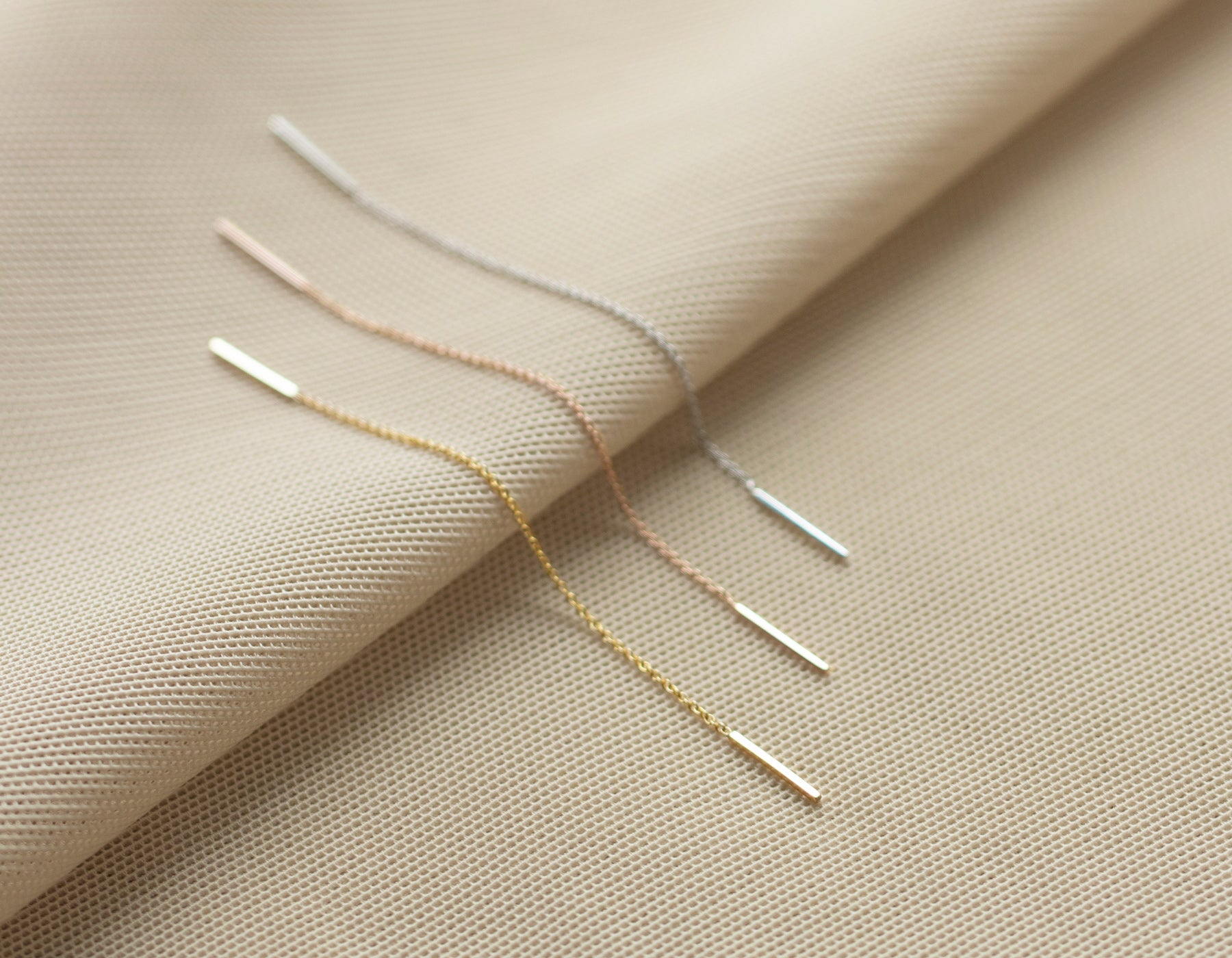 Single Simple dainty Line Threader earrings in 14K Solid gold white gold rose gold yellow gold