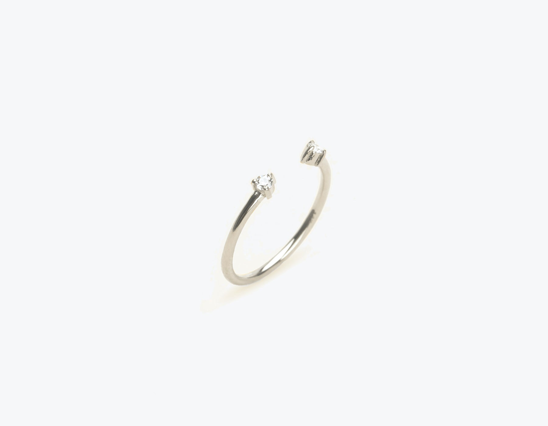 Simple modern 14k solid gold Diamond Dot Cuff stacking ring by Vrai & Oro, 14K White Gold