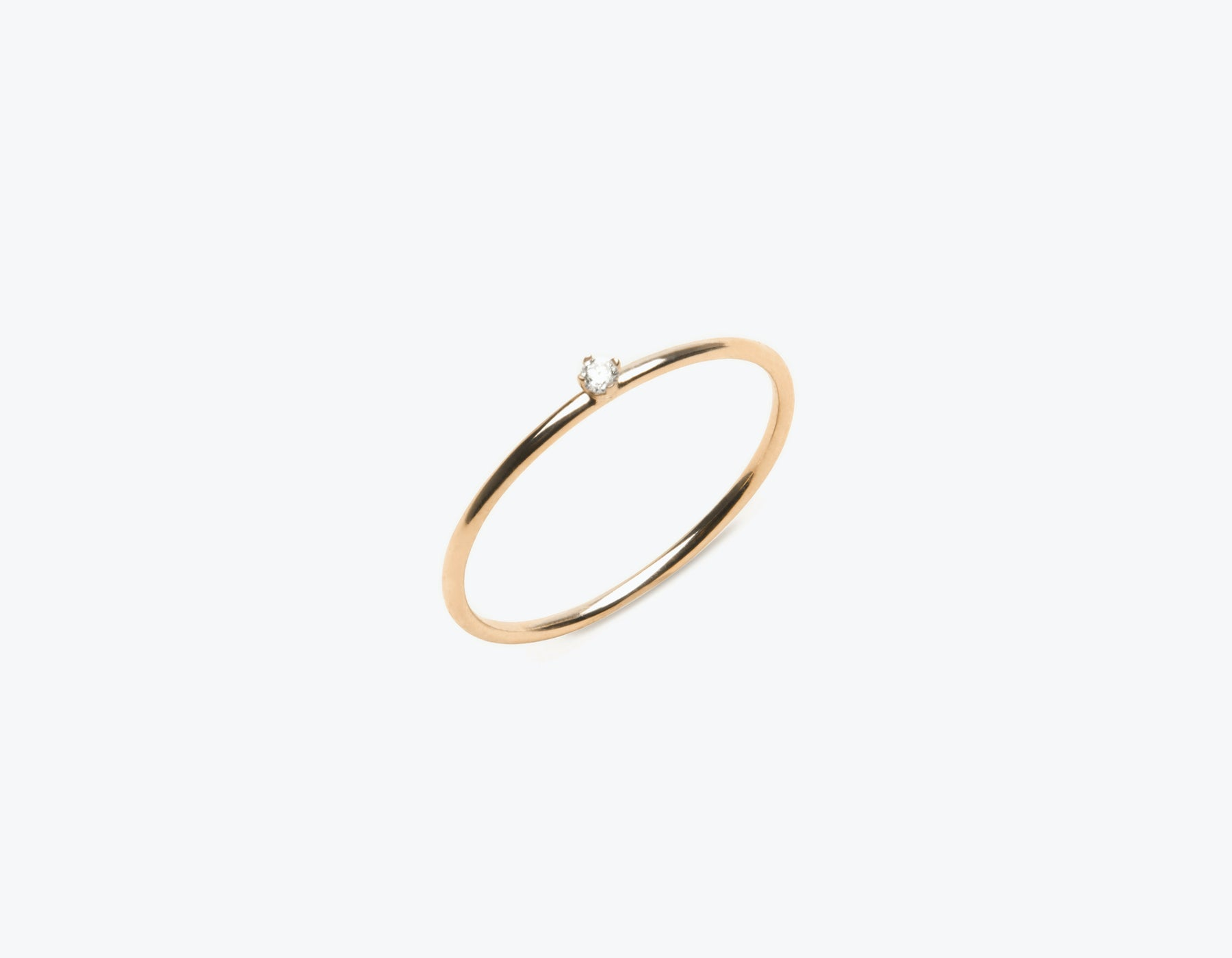 Simple modern 14k solid gold Round Diamond stacking ring by Vrai & Oro, 14K Rose Gold