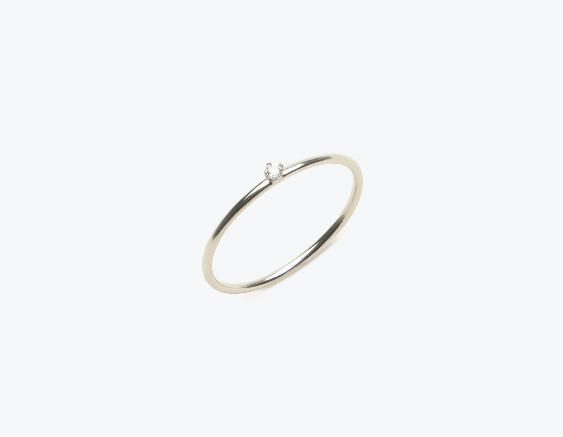 Simple modern 14k solid gold Round Diamond stacking ring by Vrai & Oro, 14K White Gold