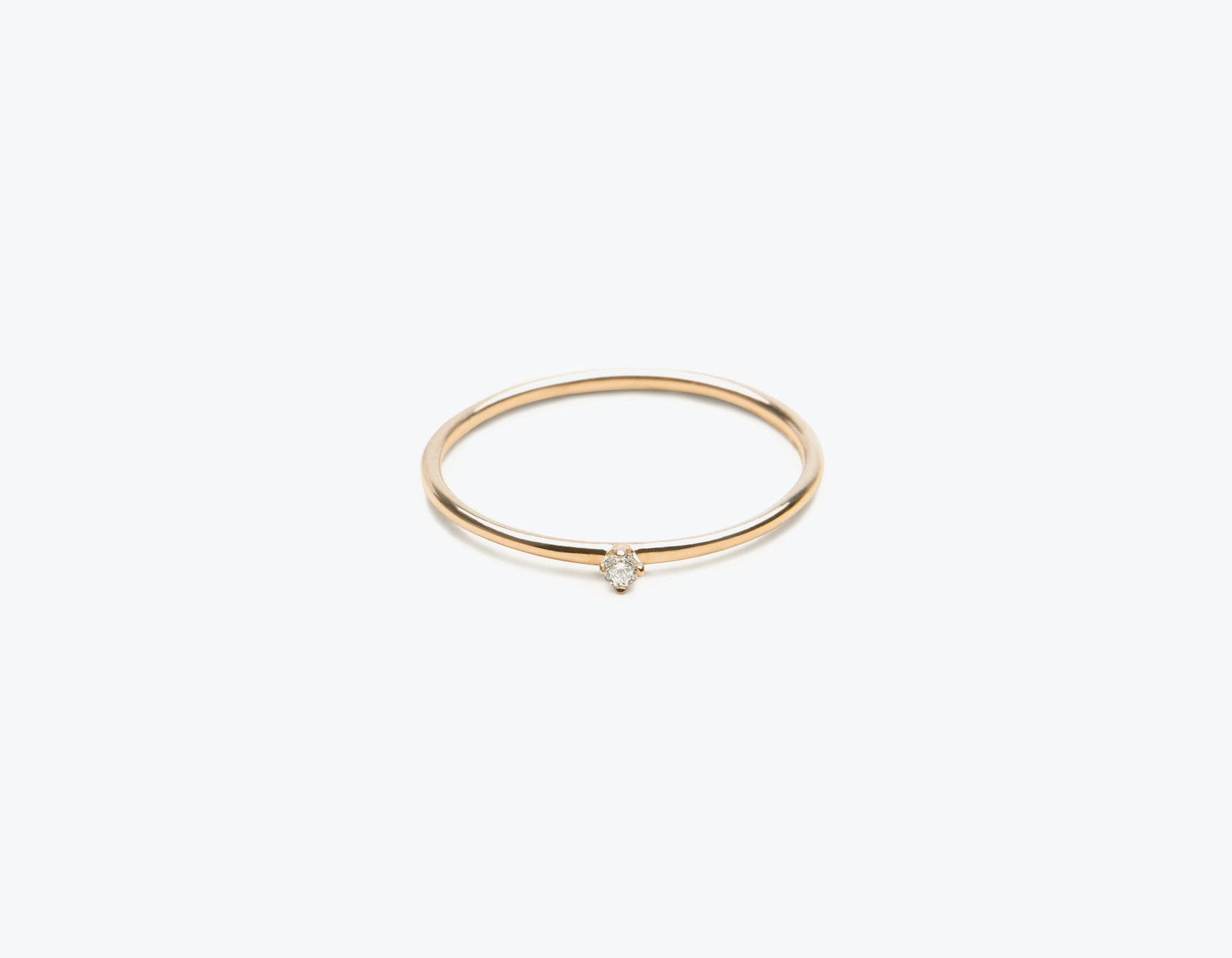 Classic minimalist 14k solid gold small Round Diamond Stacker ring by Vrai and Oro, 14K Rose Gold