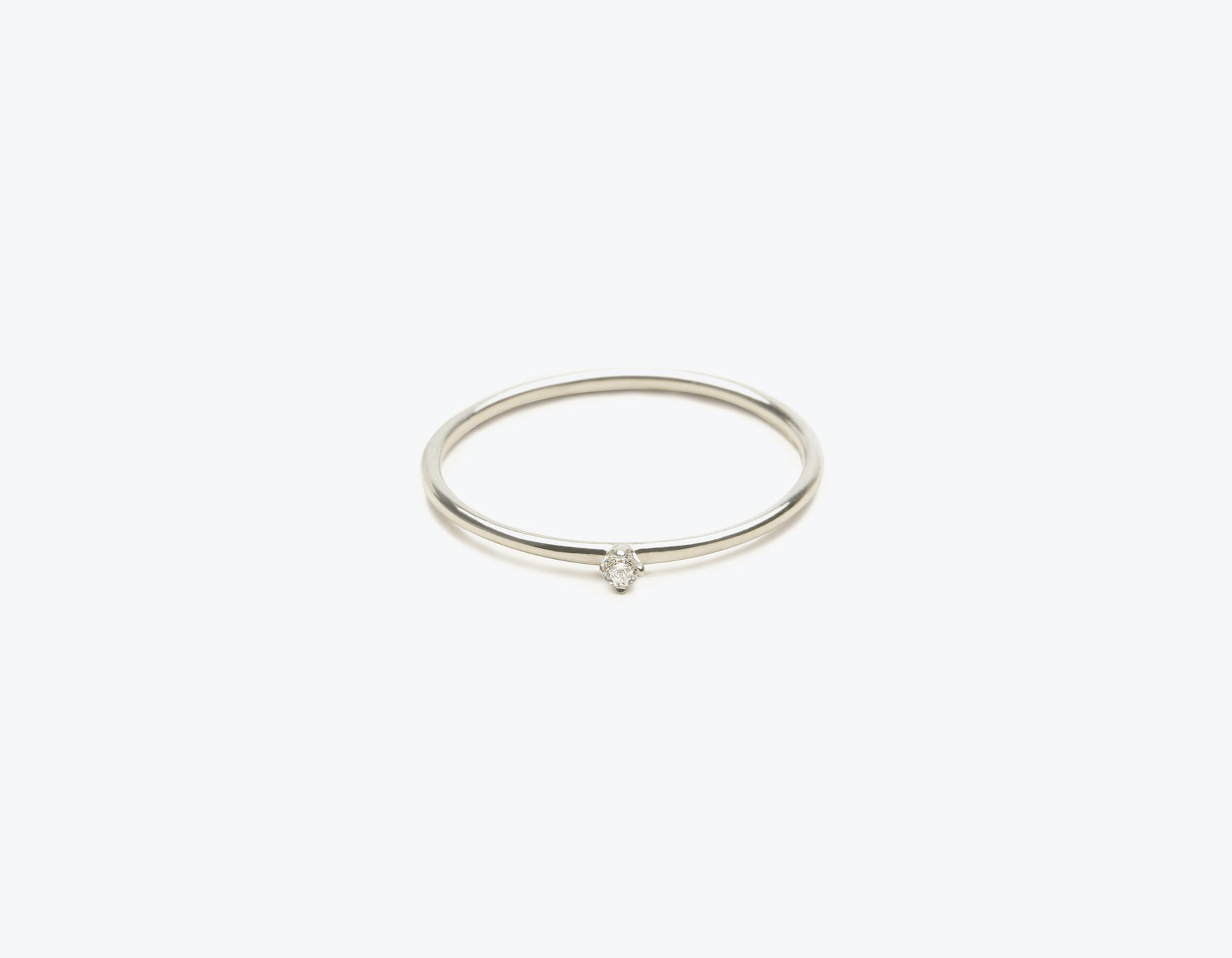 Classic minimalist 14k solid gold small Round Diamond Stacker ring by Vrai and Oro, 14K White Gold