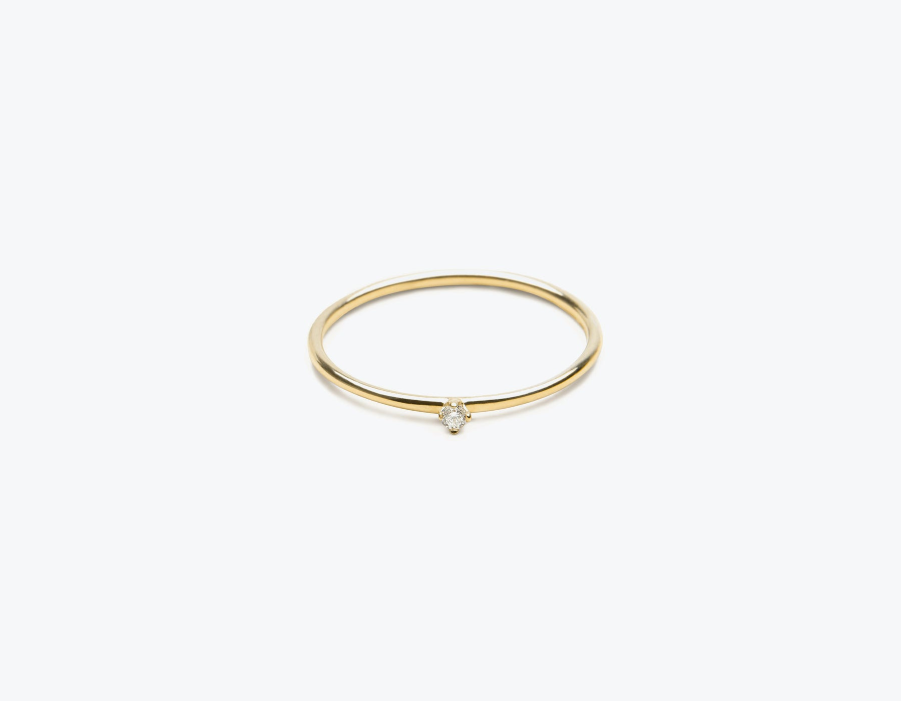 Classic minimalist 14k solid gold small Round Diamond Stacker ring by Vrai and Oro, 14K Yellow Gold