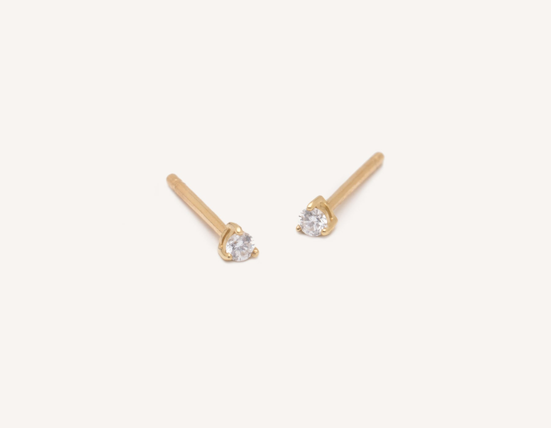 Simple classic Tiny Diamond Studs .04 carat round diamond 14k solid gold Vrai and Oro, 14K Yellow Gold