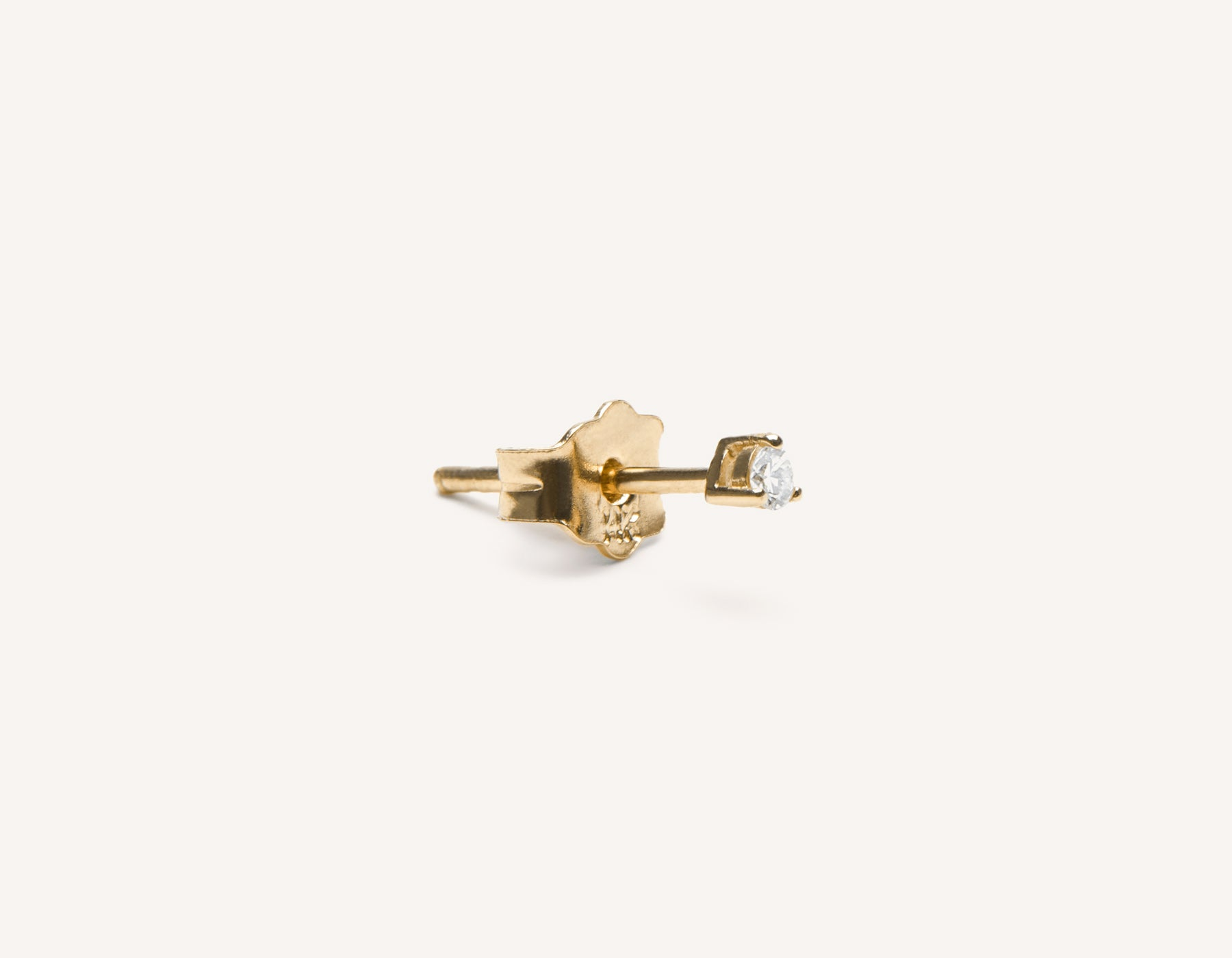 Small Diamond Stud earring round diamond 14k solid gold Vrai & Oro, 14K Yellow Gold