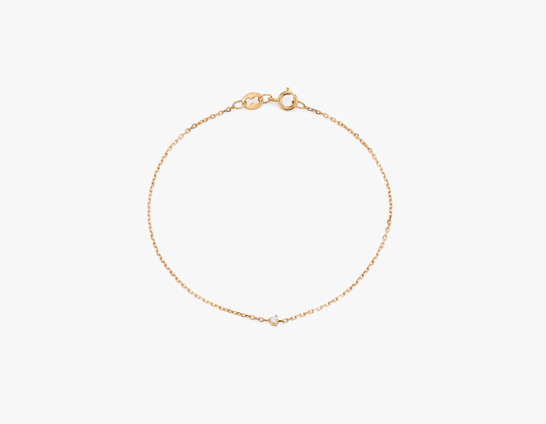 Vrai 14k Solid gold dainty Tiny Diamond Bracelet with spring ring clasp, 14K Rose Gold