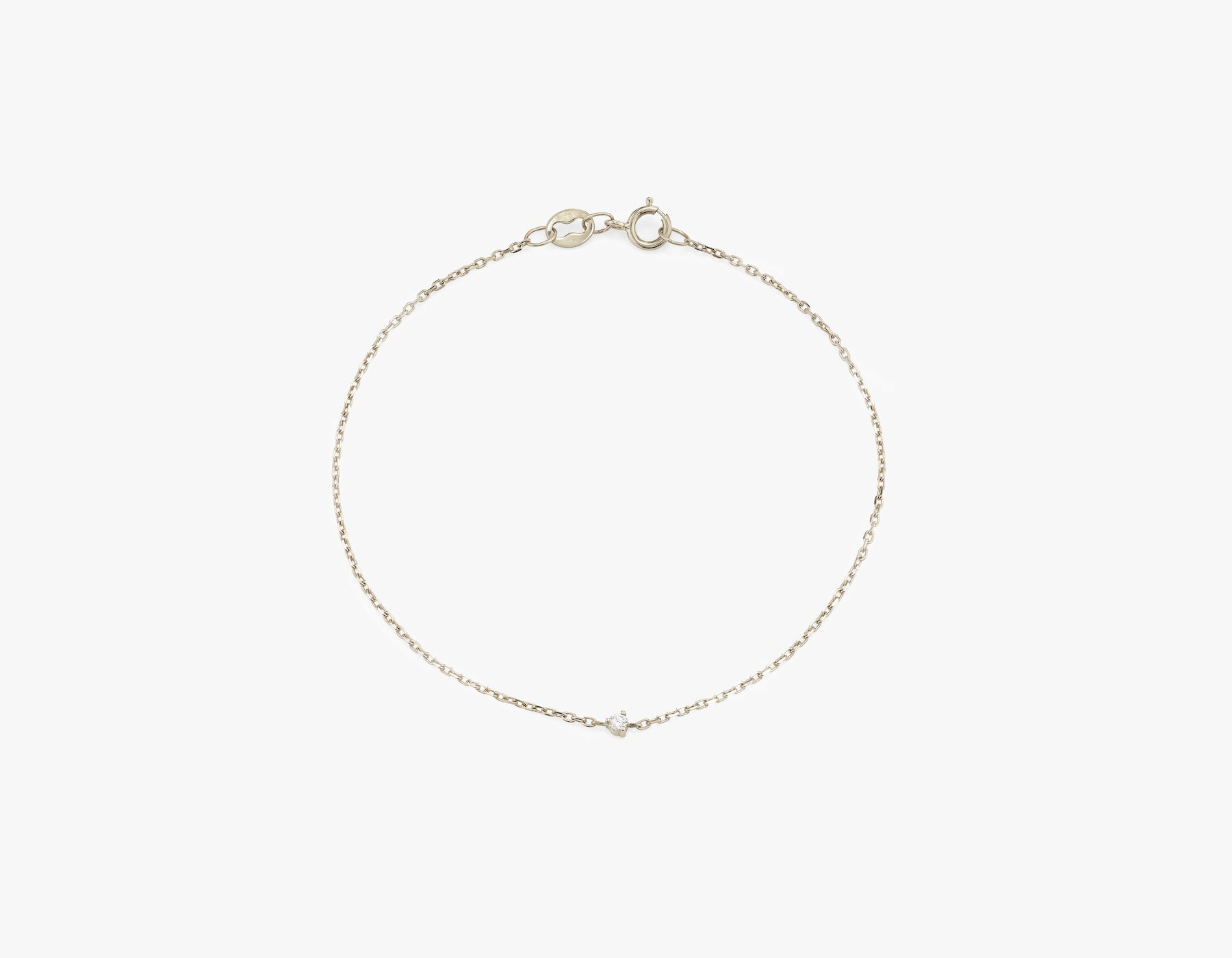 Vrai 14k Solid gold dainty Tiny Diamond Bracelet with spring ring clasp, 14K White Gold