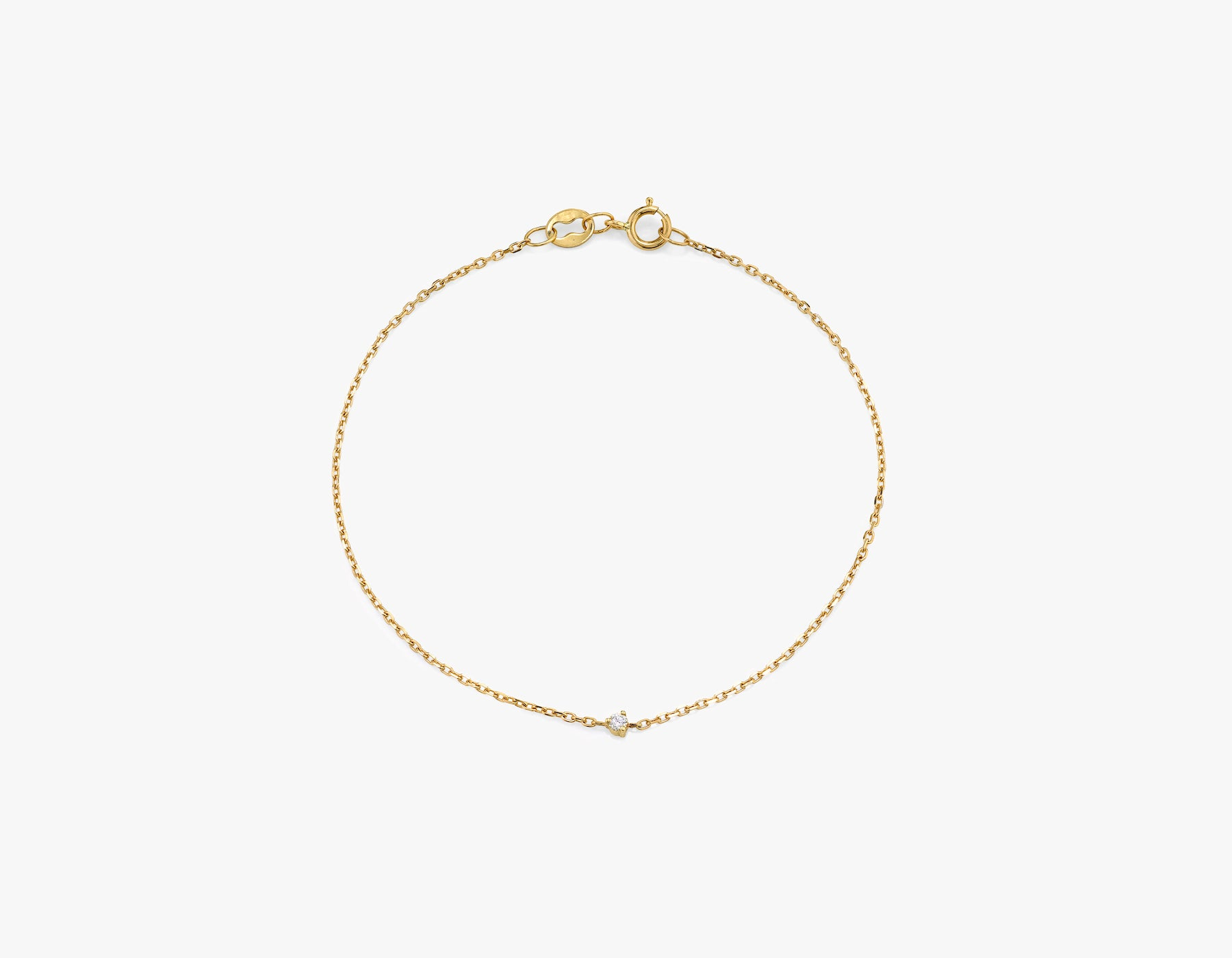 Vrai 14k Solid gold dainty Tiny Diamond Bracelet with spring ring clasp, 14K Yellow Gold