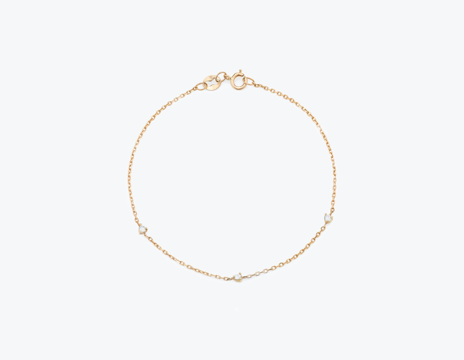 Vrai Tiny Diamond Station Bracelet simple modern, 14K Rose Gold