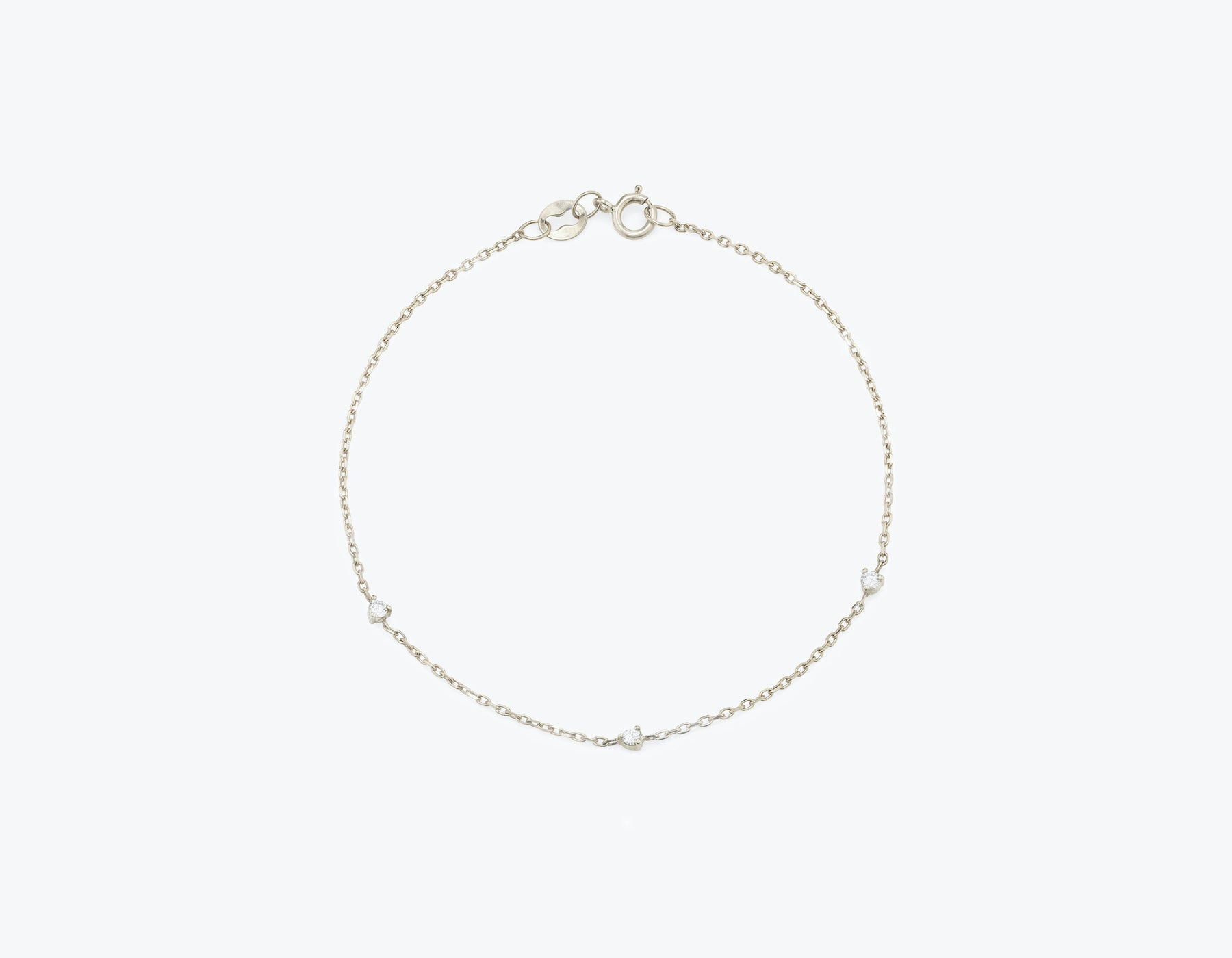 Vrai Tiny Diamond Station Bracelet simple modern, 14K White Gold