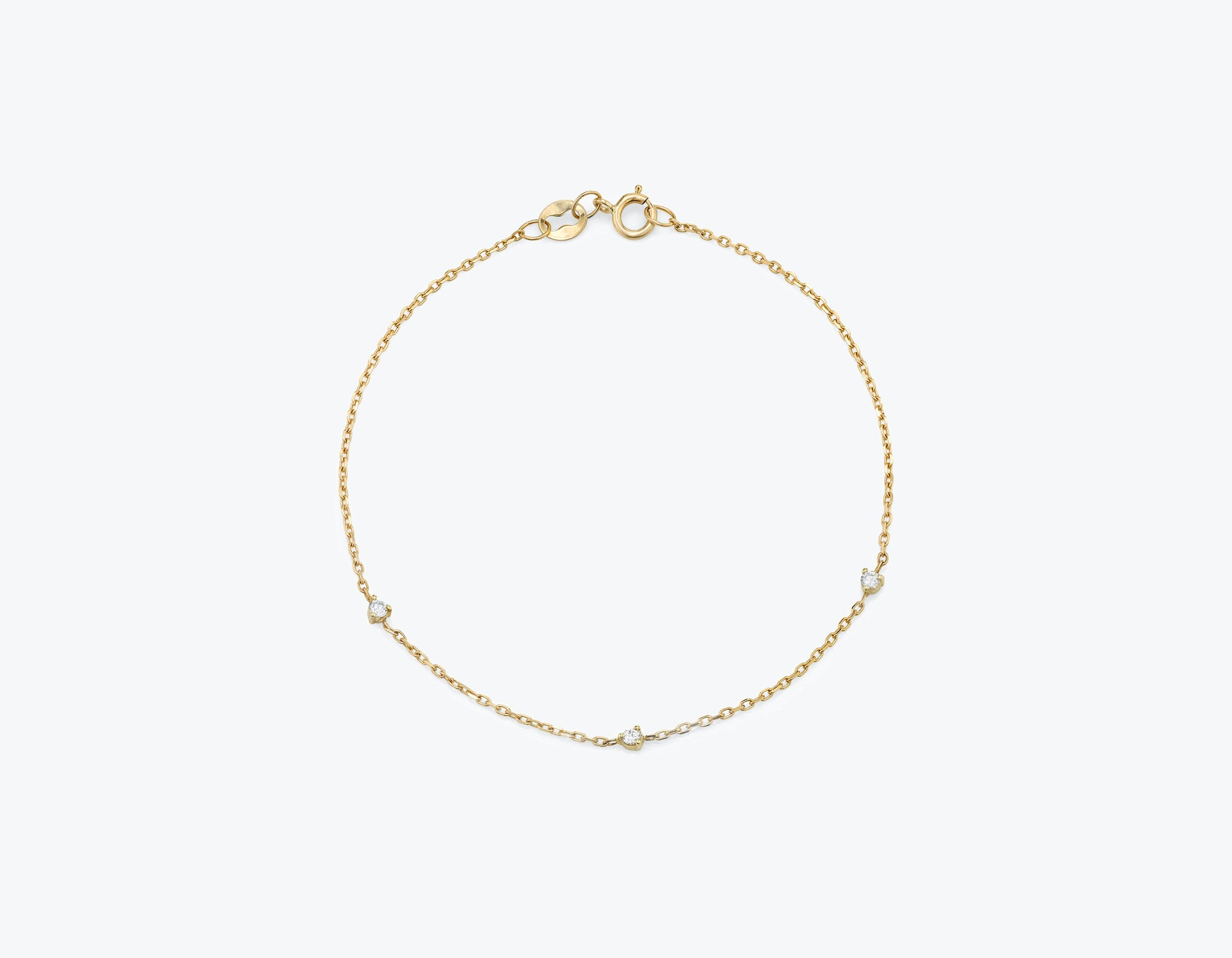Vrai Tiny Diamond Station Bracelet simple modern, 14K Yellow Gold