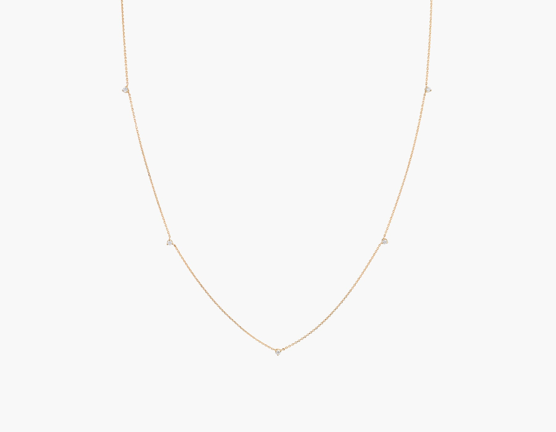 Vrai Tiny Diamond Station Necklace simple modern, 14K Rose Gold